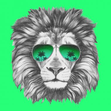 Hand drawn portrait of Lion with sunglasses. Vector isolated elements. clip art vector