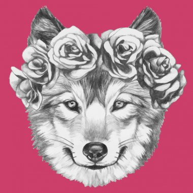 Wolf with floral wreath