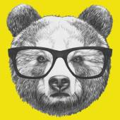 Photo Original drawing of Bear with glasses