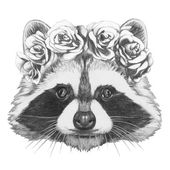 Raccoon with floral head wreath
