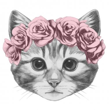 Cat with floral head wreath