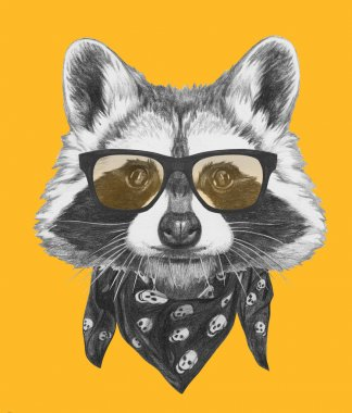Raccoon with glasses and scarf