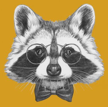 Raccoon with glasses and bow tie