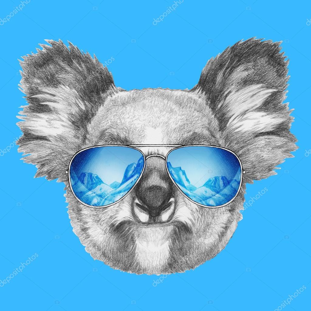 cd86f41cff Retrato de Koala con gafas de sol de espejo — Foto de stock ...