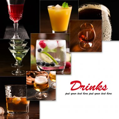 A collage of pictures of alcoholic beverages (dark background) stock vector