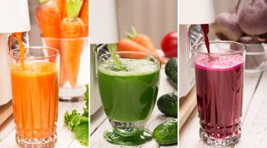 Fresh vegetables and juices