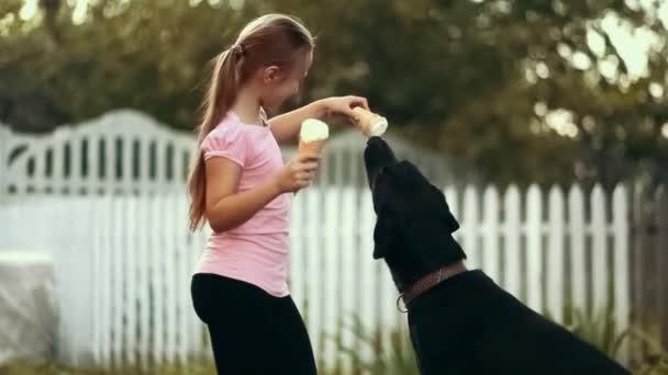 Krmení psa zmrzlina dívka
