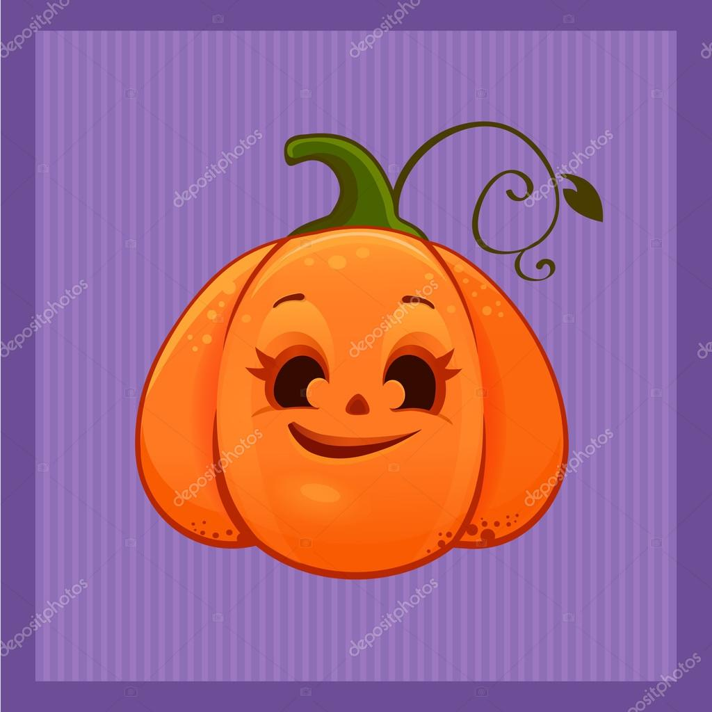 vector of a cartoon cute halloween smiling pumpkin u2014 stock vector