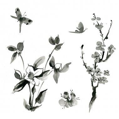 Oriental plants: sakura; cherry; roseship