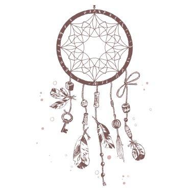 Hand drawn Indian talisman dreamcatcher