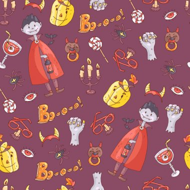 Hand drawn pattern with halloween elements