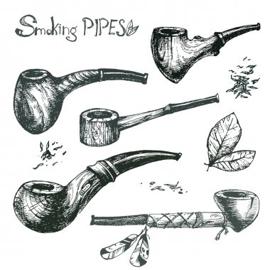 Hand drawn smoking pipes