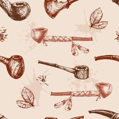 Hand drawn smoking pipes pattern
