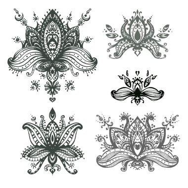 set of henna floral lotos elements