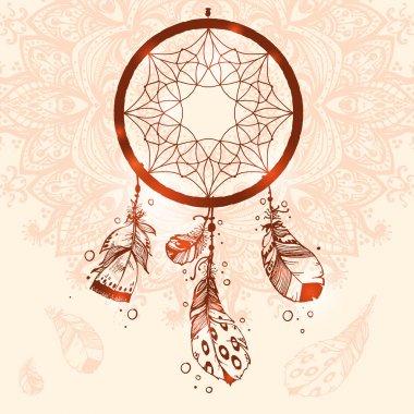 Hand drawn talisman dreamcatcher