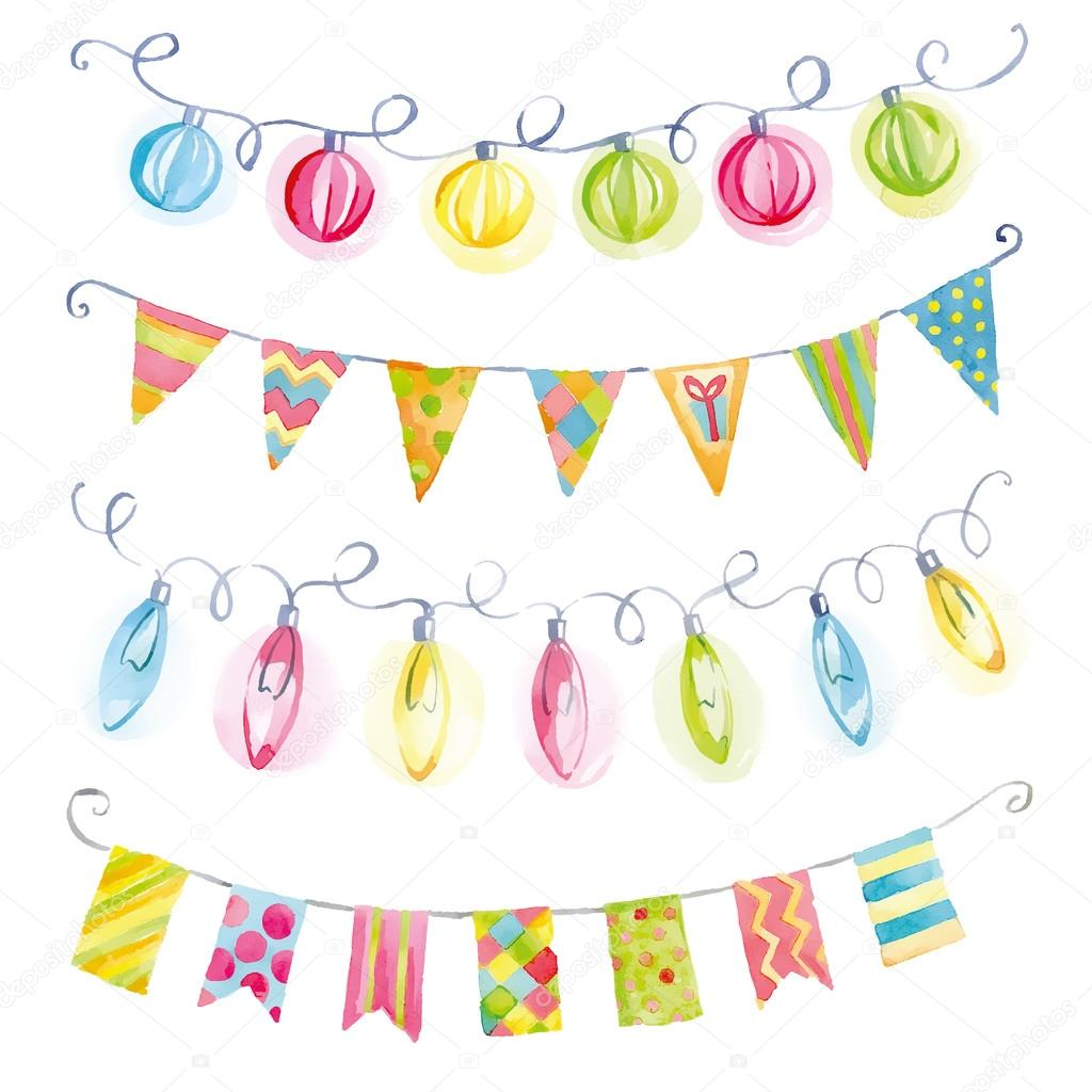 Festive watercolor garlands of flags and lights