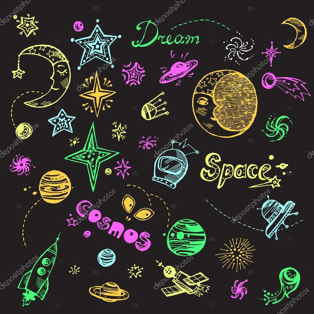 Hand drawn set with space elements