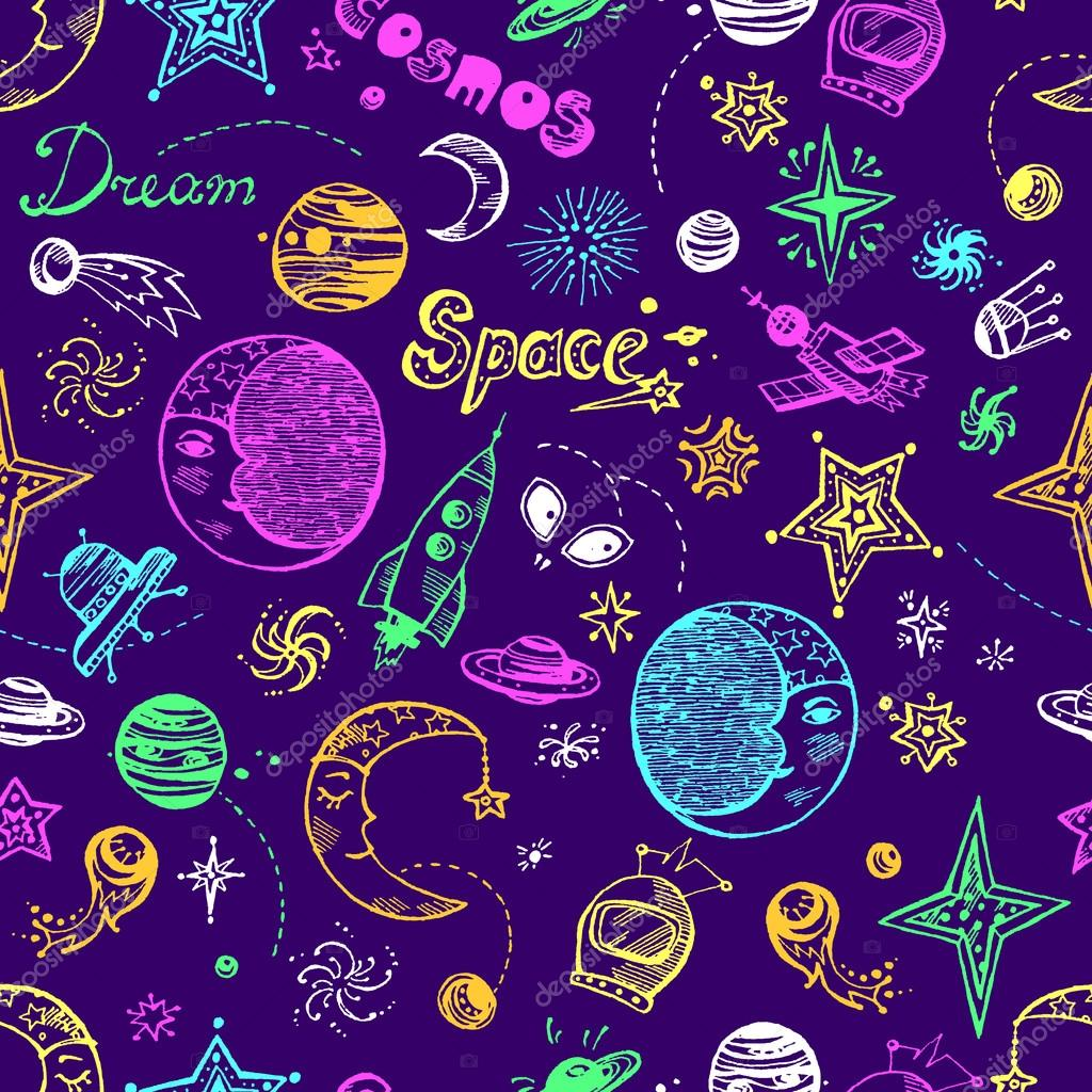 Hand drawn pattern with space elements