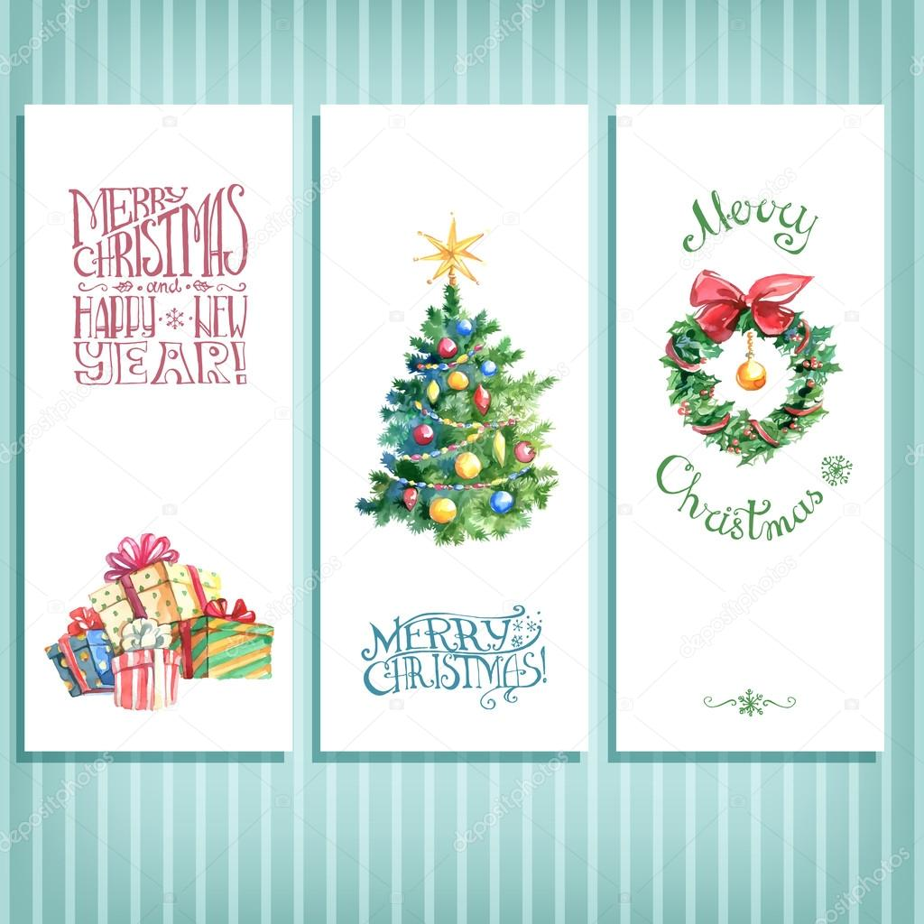 Watercolor Christmas cards — Stock Vector © dinkoobraz #123506414