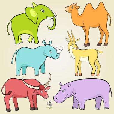 cartoon elephant, rhino, bull, hippo