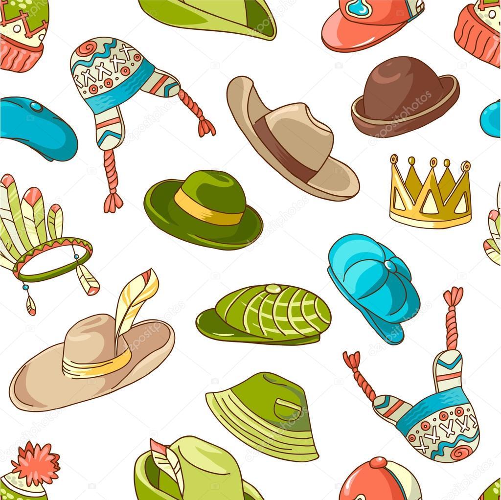 patrón con sombreros de la doodle — Archivo Imágenes Vectoriales ...
