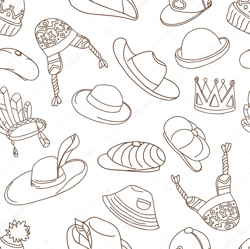 patrón con sombreros de la doodle — Vector de stock © dinkoobraz ...