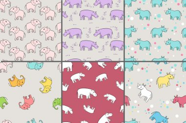 repeating patterns with cute rhinoceros