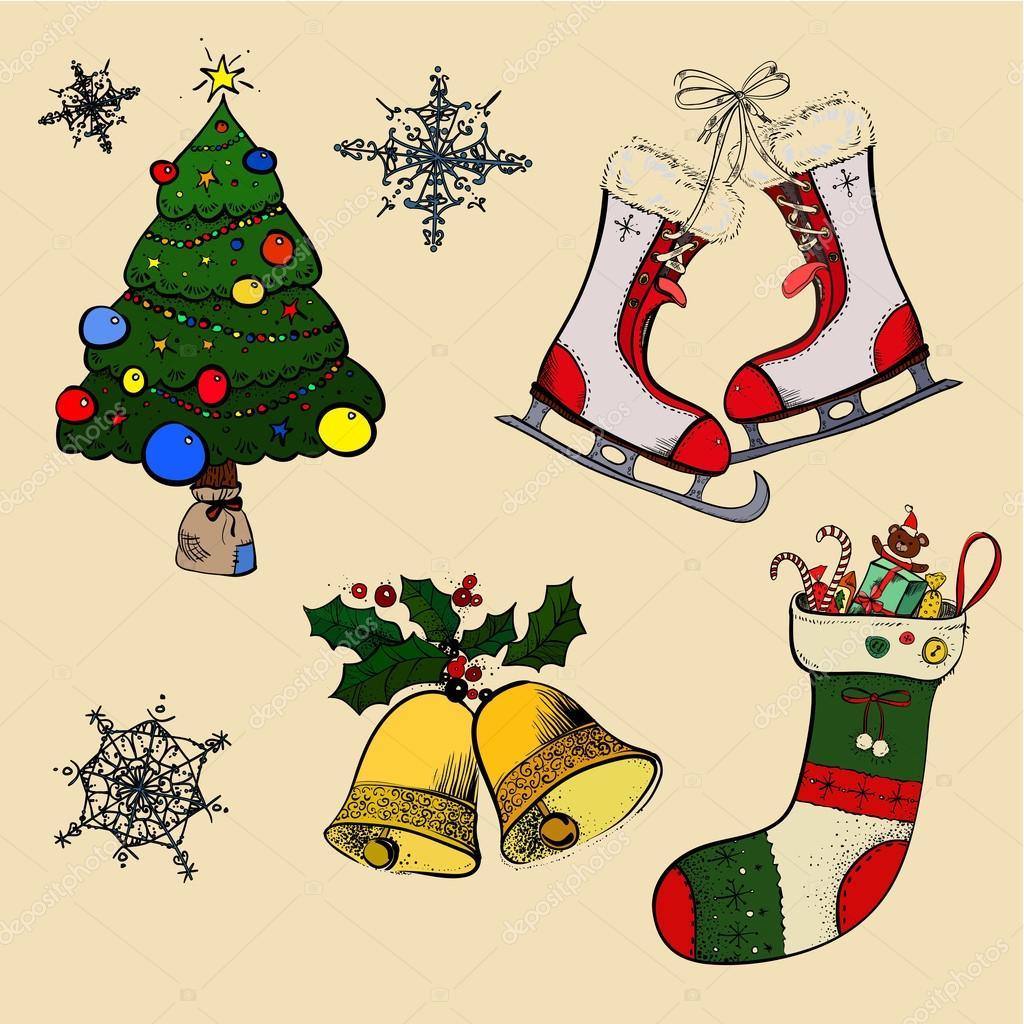 Christmas Sketches.Christmas Sketches Retro Sock Stock Vector C Dinkoobraz