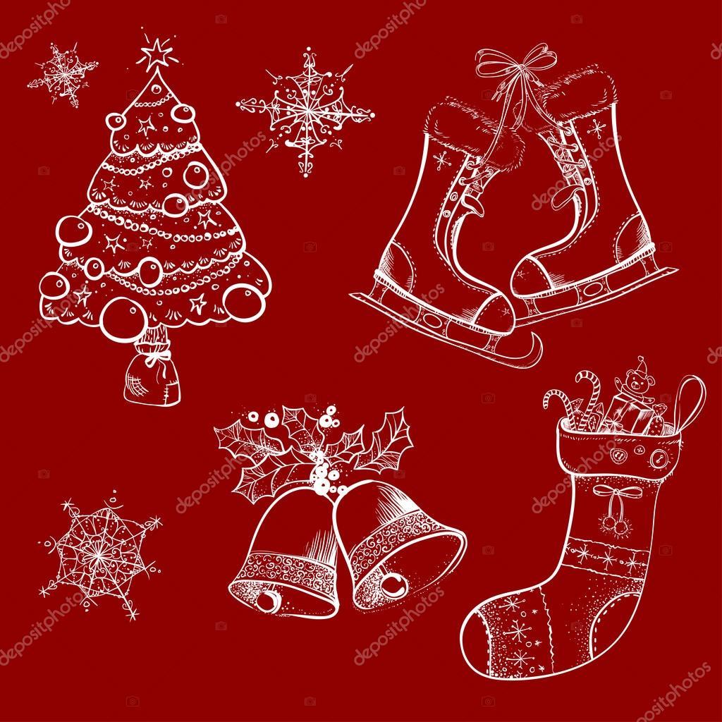 Weihnachten-Skizzen, retro, Socke — Stockvektor © dinkoobraz #81005546