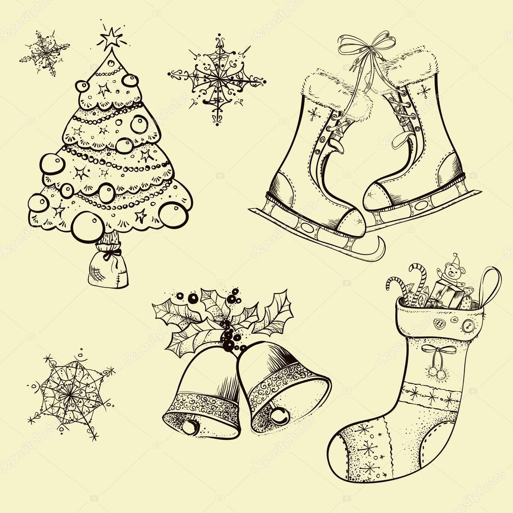Weihnachten-Skizzen, retro, Socke — Stockvektor © dinkoobraz #81006024