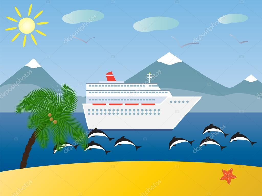 tropical landscape . Sea, sun , the mountains, beach and palms. marine ship and dolphins.