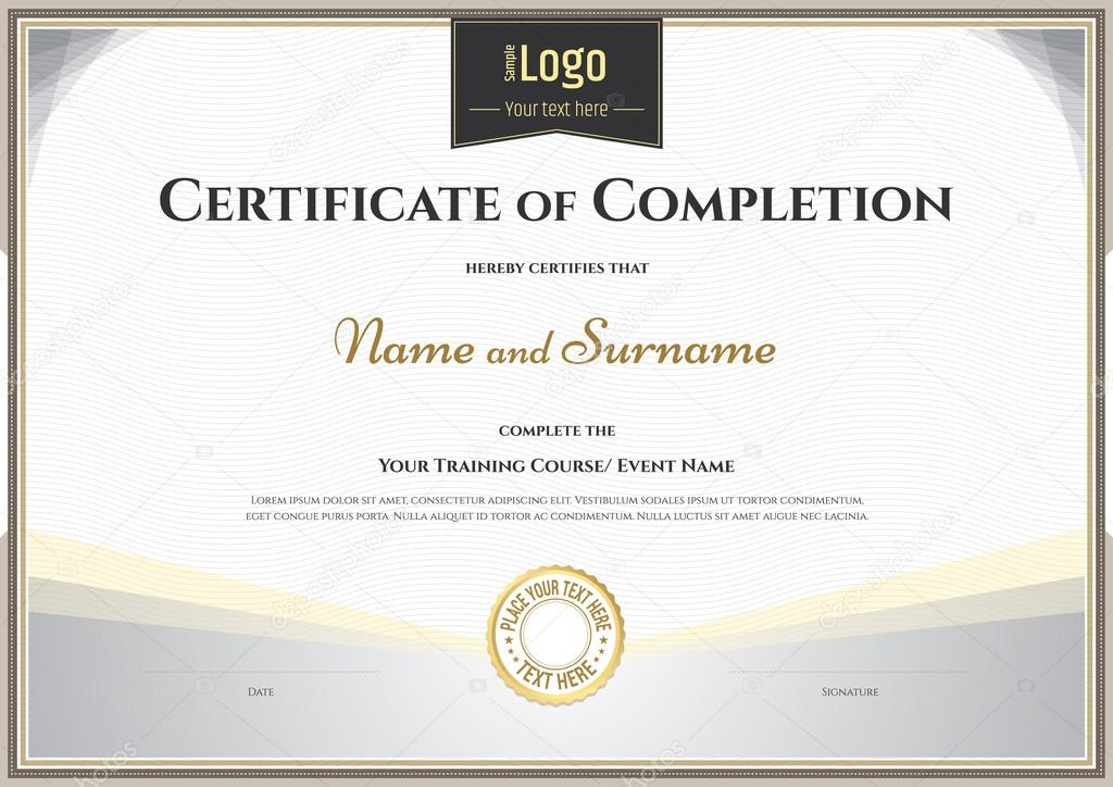 Certificate Of Completion Template In Vector For Achievement