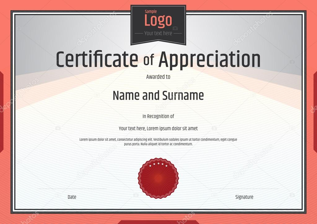 Certificate Of Appreciation Template In Vector Stock Vector