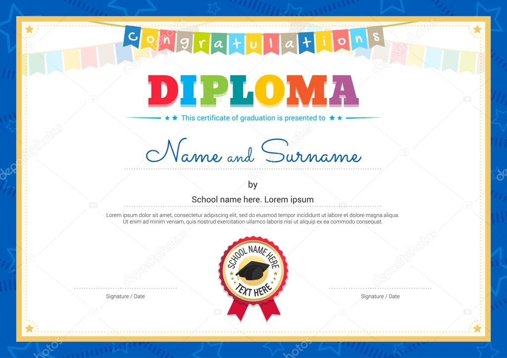Colorful diploma certificate template for kids in vector stock colorful diploma certificate template for kids in vector stock vector yelopaper Image collections