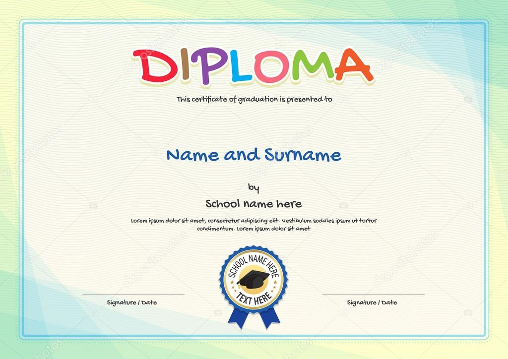 Colorful Diploma Certificate Template For Kids In Vector Stock