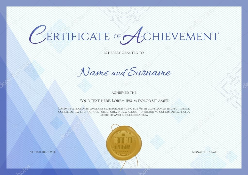 Certificate of achievement template with blue theme background, Thai ...