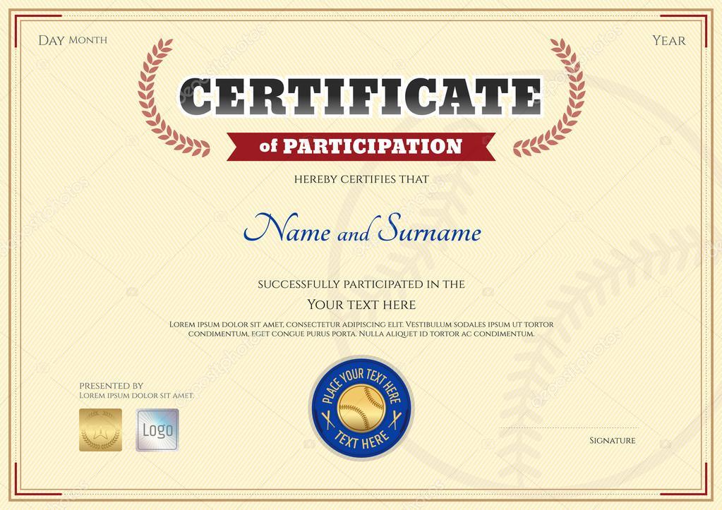 Bescheinigung über die Teilnahme Vorlage im Baseball-Sport-Thema mit ...