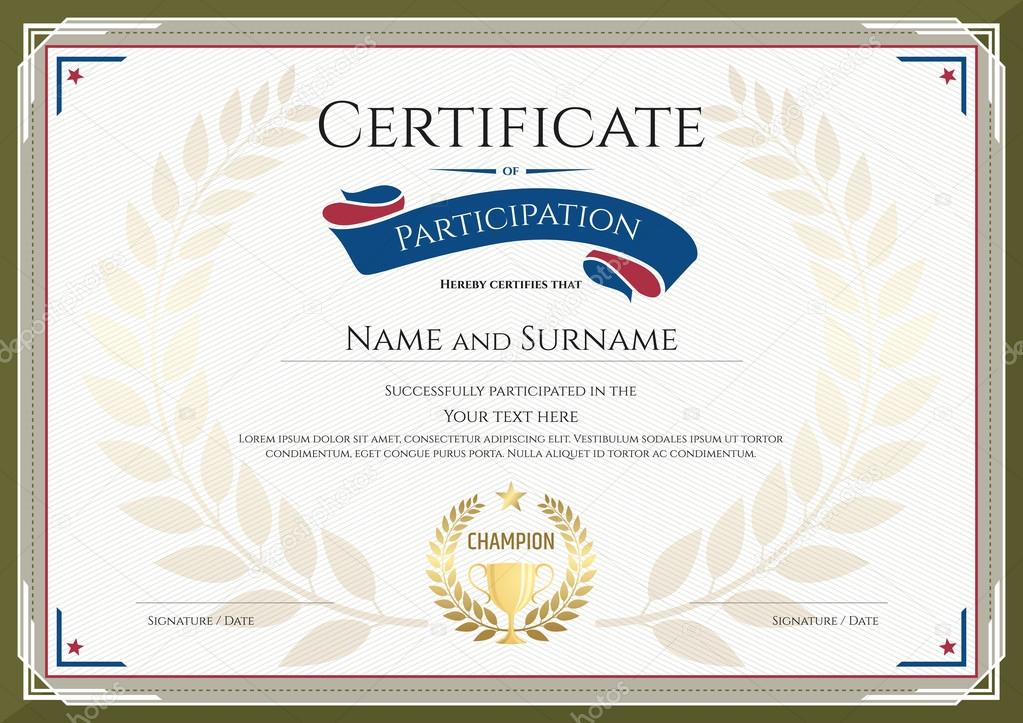 Certificate Of Participation Template With Green Broder, Gold Trophy,  Champion Wreath And Photo Space  Printable Certificate Of Participation