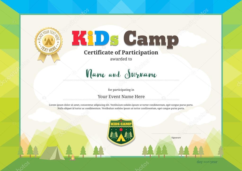 Pittoresco Attestato Di Partecipazione Per Bambini Attività O Kids