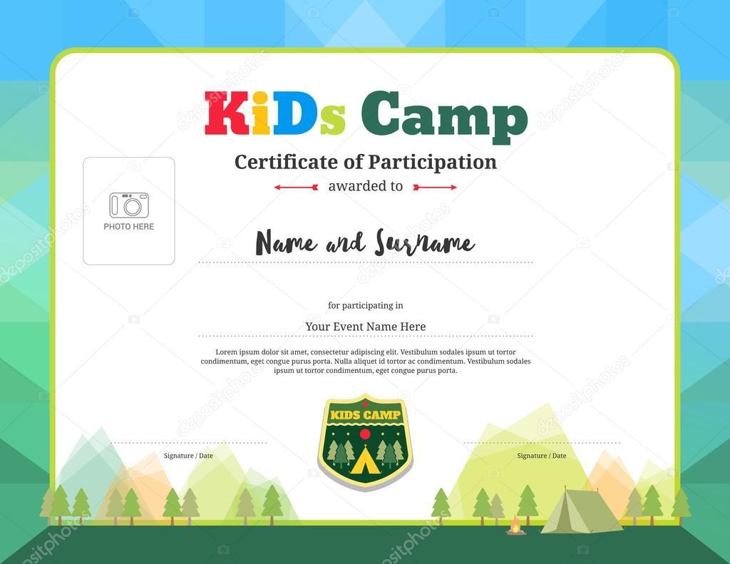 Bunte und moderne Teilnahmezertifikat über Aktivitäten für Kinder ...
