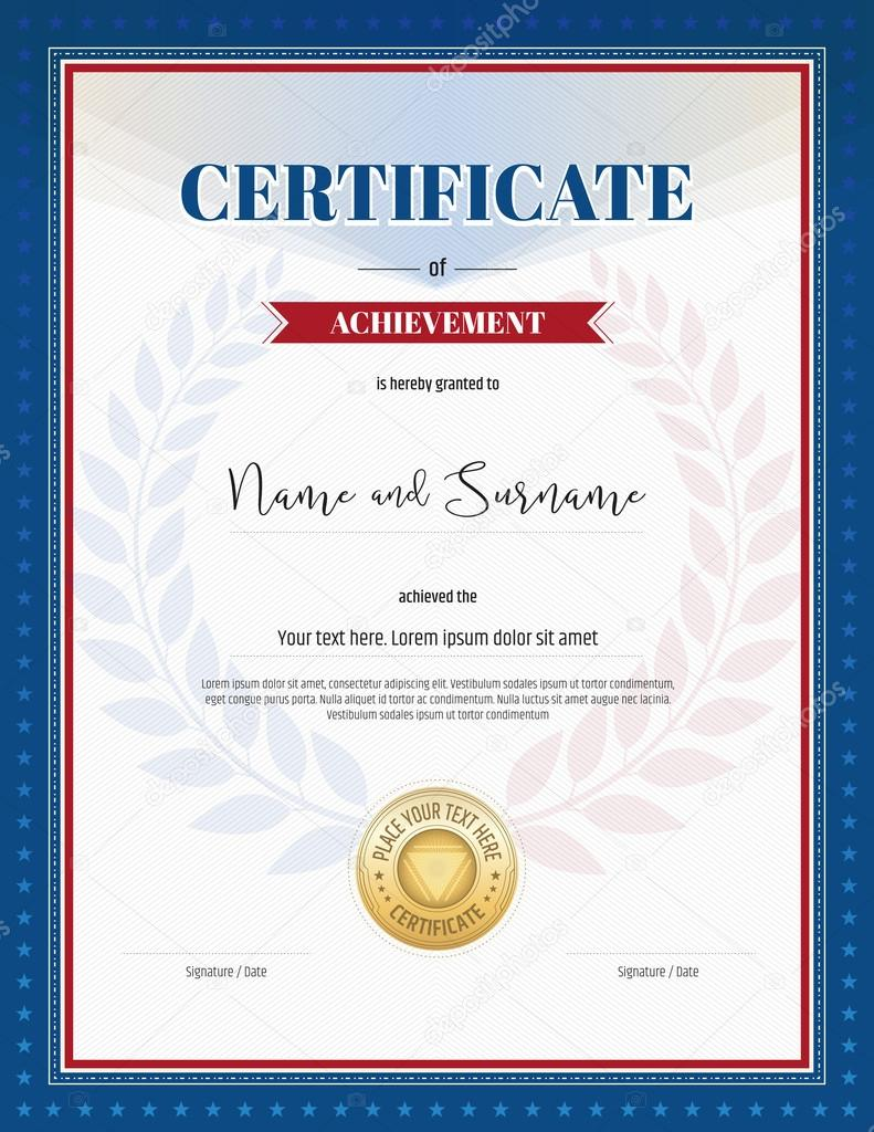 Certificate Of Achievement Template In Red And Blue Border, Laurel  Backgroud And Gold Seal U2014  Certificate Achievement Template