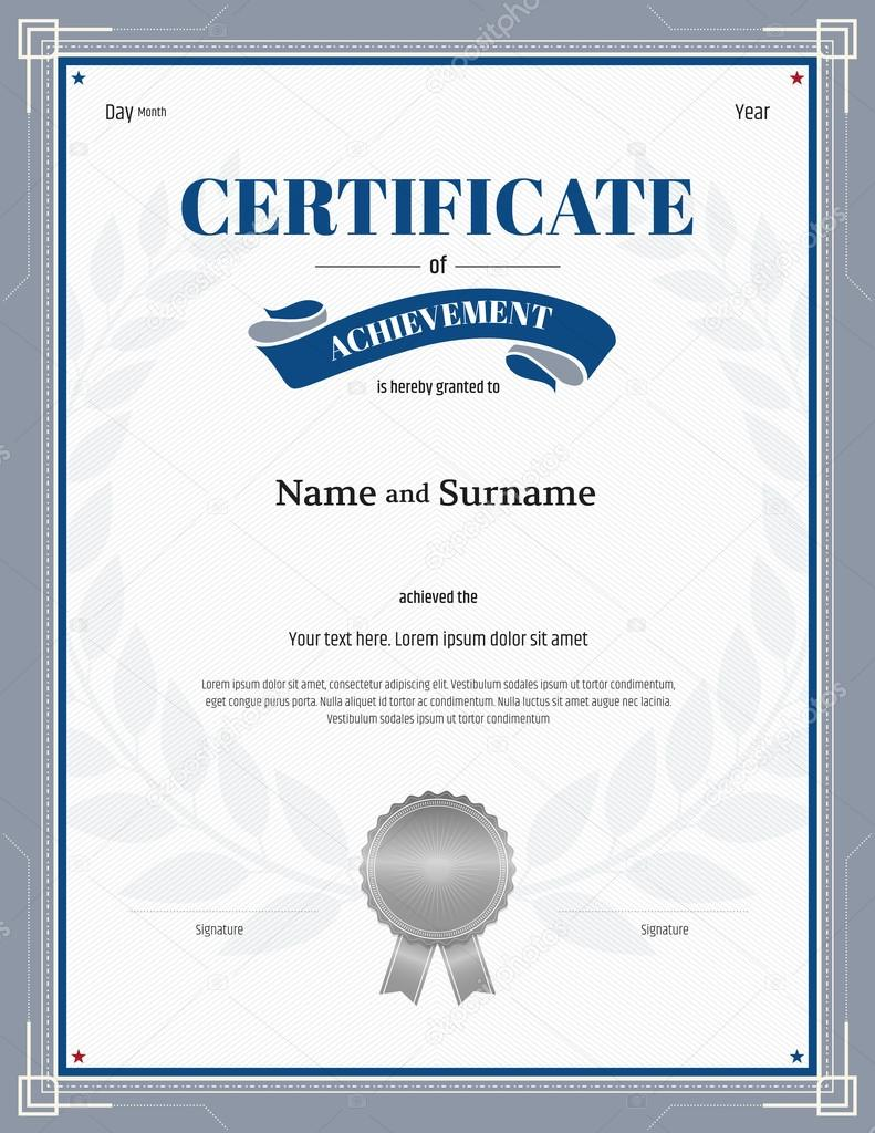 Certificate of achievement template with silver gray border laurel certificate of achievement template with silver gray border laurel background stock vector 115194932 xflitez Choice Image