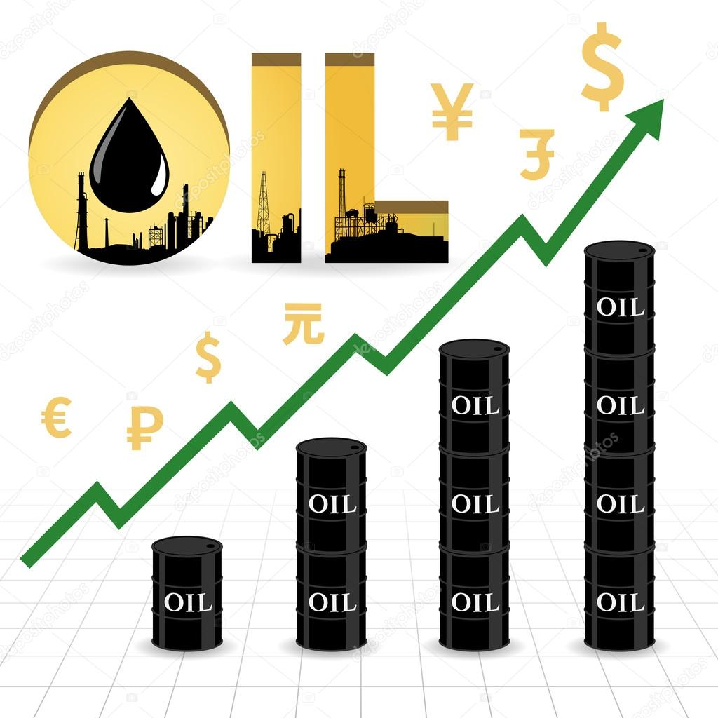 Crude oil price increase abstract illustration with uptrend green crude oil price increase abstract illustration with uptrend green arrow oil barrel graph currency symbol and refinery factory in gold color oil wording biocorpaavc Gallery