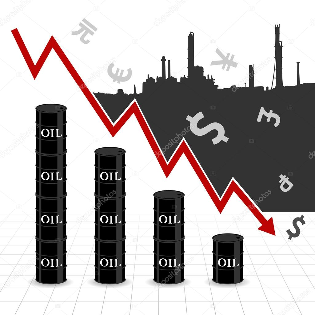 Crude oil price fall down abstract illustration with downtrend red crude oil price fall down abstract illustration with downtrend red arrow oil barrel graph currency symbol and refinery factory vector by beinluck biocorpaavc Gallery