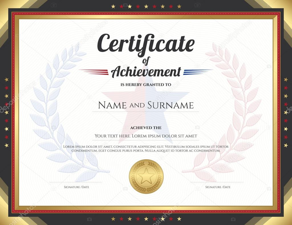 Certificate of achievement template with gold border theme and certificate of achievement template with gold border theme and awarded wreath and star background stock 1betcityfo Gallery