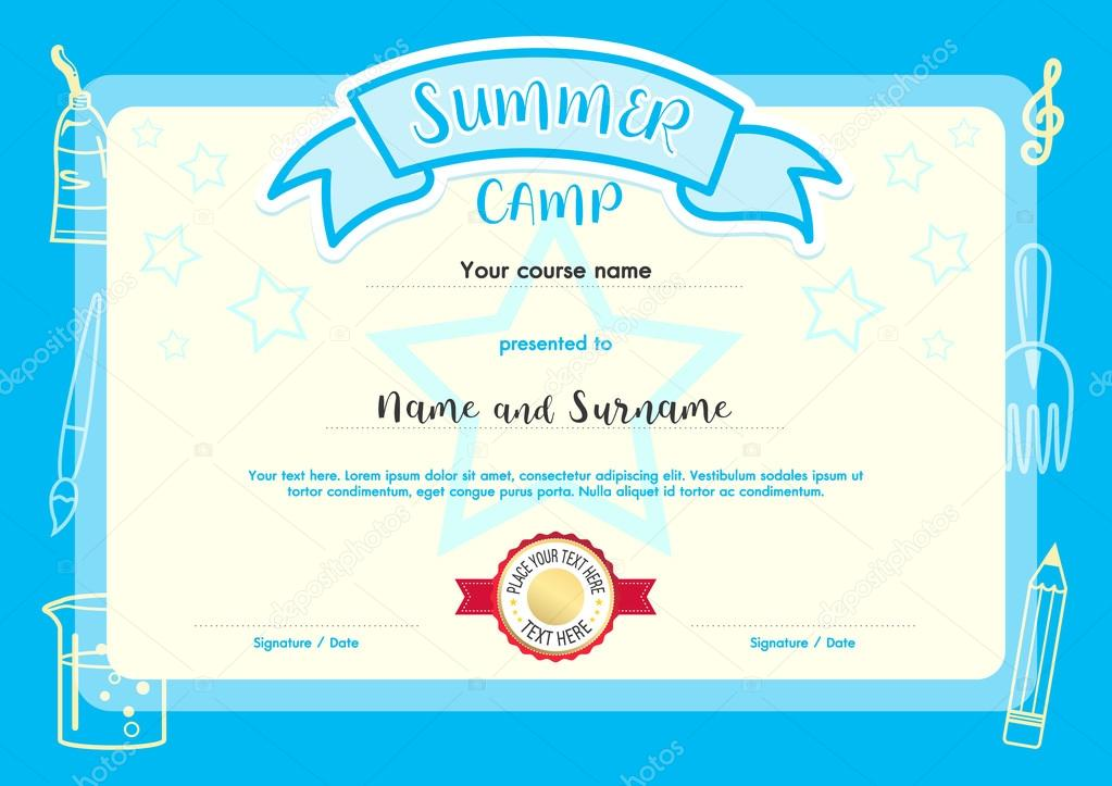Kids summer camp document certificate template with light blue kids summer camp document certificate template with light blue border stock vector yelopaper Image collections