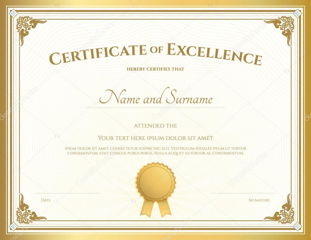 Certificat De Mod 232 Le D Appr 233 Ciation Avec Bordure Or