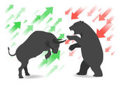 Photo Stock market concept bull vs bear are facing and fighting on white