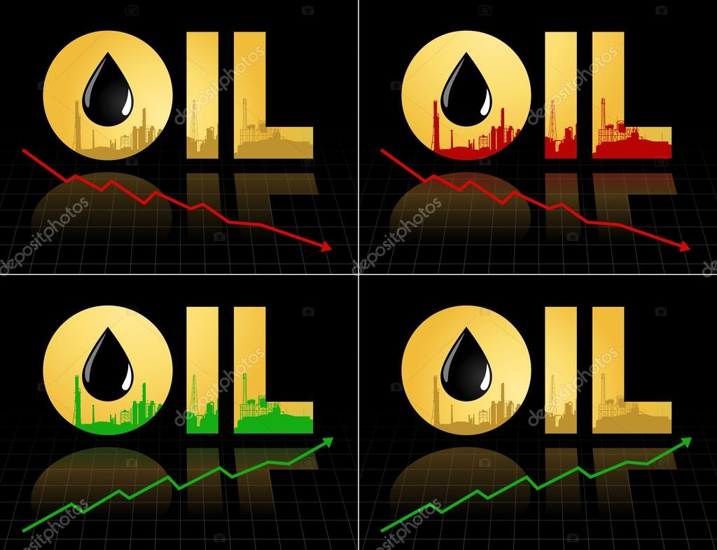 Set Of Crude Oil Price Fall Down Abstract Illustration With Refinery