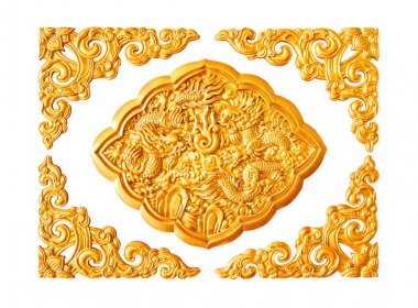 Golden dragon stucco decoration elements on white with frame